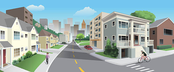 Urban Neighborhood A street corner in a mixed residential neighborhood near town shows apartments, a park, a bicyclist and cars. urban road stock illustrations