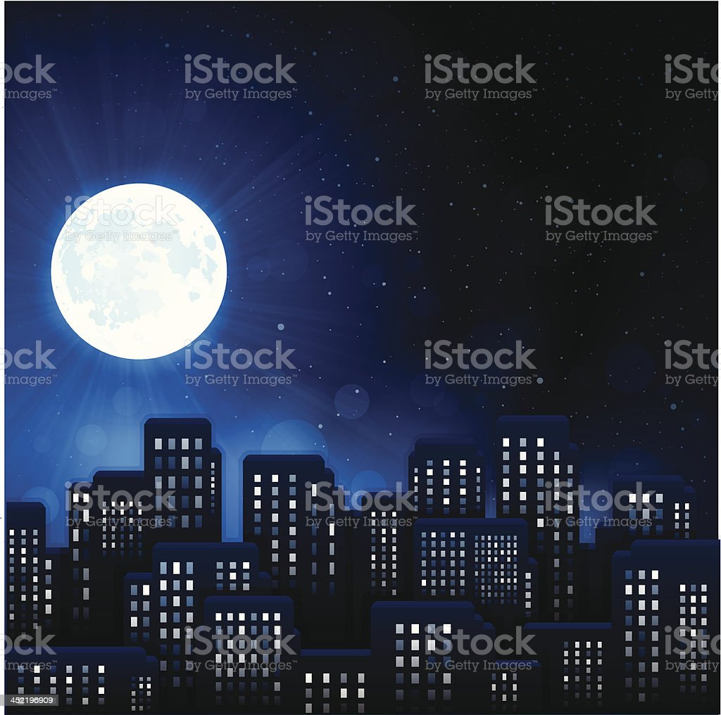 Urban Night City vector art illustration