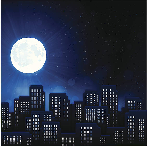 urban night city - moon stock illustrations, clip art, cartoons, & icons