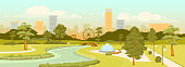 Urban park flat color vector illustration. City recreation zone and modern buildings at day time scene. Outdoor rest. Square 2D cartoon landscape with skyscrapers and trees on background