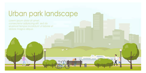illustrazioni stock, clip art, cartoni animati e icone di tendenza di urban park landscape flat illustration. horizontal banner template with place for your text. stock vector. people relaxing in city park, walking with dog, riding bicycle. - city walking background