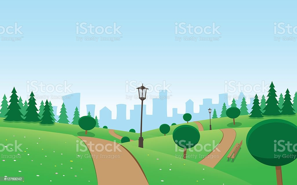 Urban Park Landscape vector art illustration