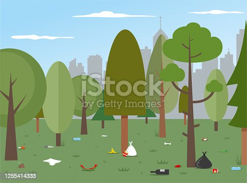 istock Urban Park Pollution stock illustration 1255414333