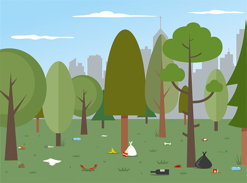 Urban Park Pollution stock illustration