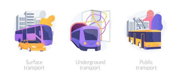 illustrazioni stock, clip art, cartoni animati e icone di tendenza di urban passengers transportation vector concept metaphors. - linea tranviaria