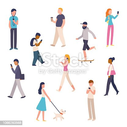Diverse set of urban people walking in city street. Simple flat cartoon characters, business people, pedestrians. Isolated vector illustration.