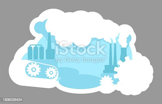 Urban pollution 2D vector web banner, poster. Smog from facility. Heavy production. Industrial city flat scenery on cartoon background. Factory printable patches, colorful web elements