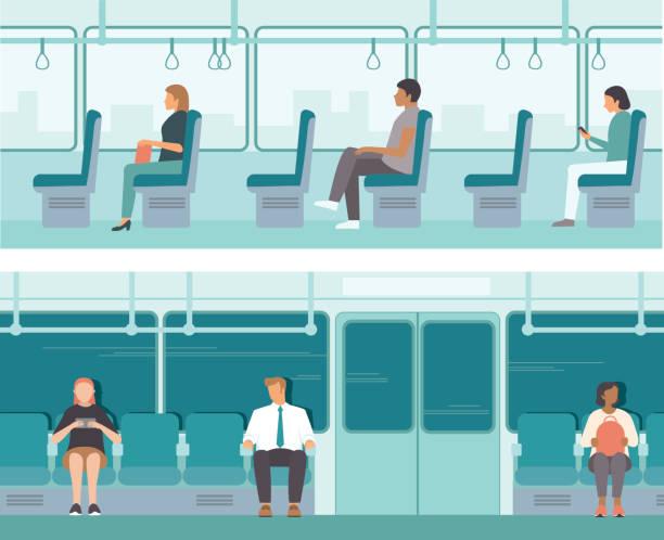 Urban public transport. Passengers inside tube car, bus or tram. City Passengers Transportation vector art illustration