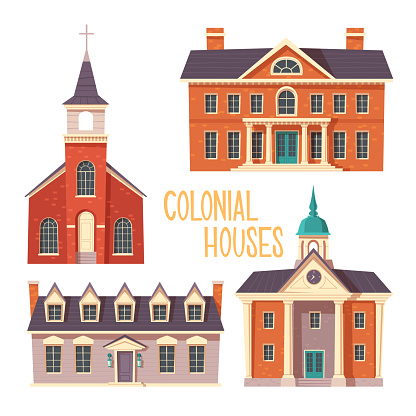 Urban retro colonial style building cartoon vector set illustration. Old residential and government buildings, church, Victorian houses isolated on white background