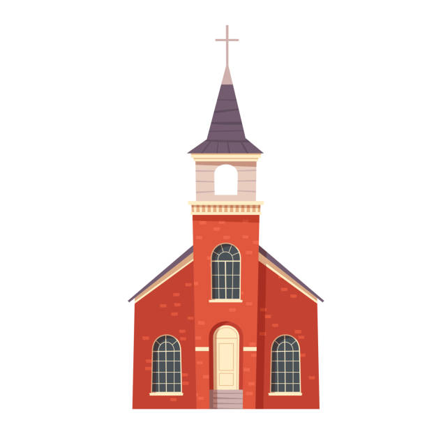 Urban retro colonial style building cartoon Urban retro colonial style church building cartoon vector illustration. Old religious building, Victorian christian temple with cross on spire isolated on white background church stock illustrations