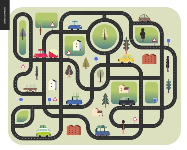 illustrations, cliparts, dessins animés et icônes de feuille de route urbaine - rond point