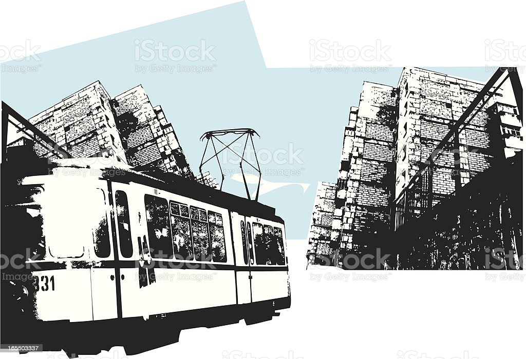 urban scene and tram royalty-free stock vector art