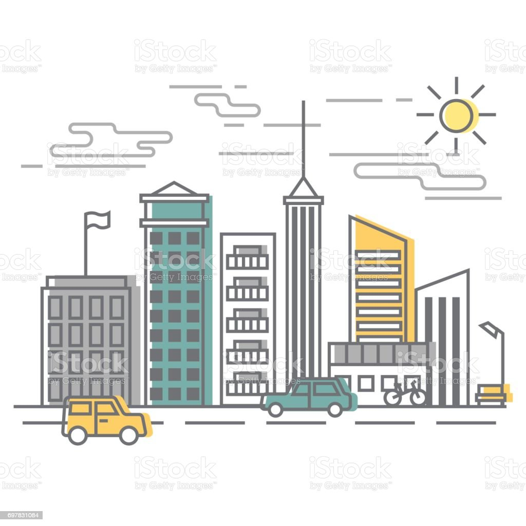 Urban Scene, city street with buildings and cars. Vector illustration in flat style. vector art illustration