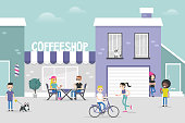 Urban scene. Cozy gentrified city street crowded with young people. Weekend city activities. Millennials living in a neighbourhood. Flat editable vector illustration, clip art