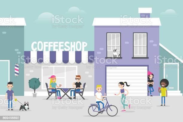 Urban scene cozy gentrified city street crowded with young people vector id869458892?b=1&k=6&m=869458892&s=612x612&h=vbkkwclp14f5dtxulzxhhwjzz48koymmh8dv8egvyvu=