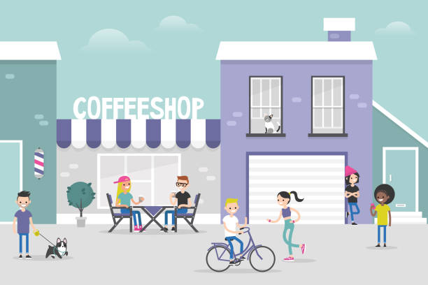 illustrazioni stock, clip art, cartoni animati e icone di tendenza di urban scene. cozy gentrified city street crowded with young people. weekend city activities. millennials living in a neighbourhood. flat editable vector illustration, clip art - city walking background