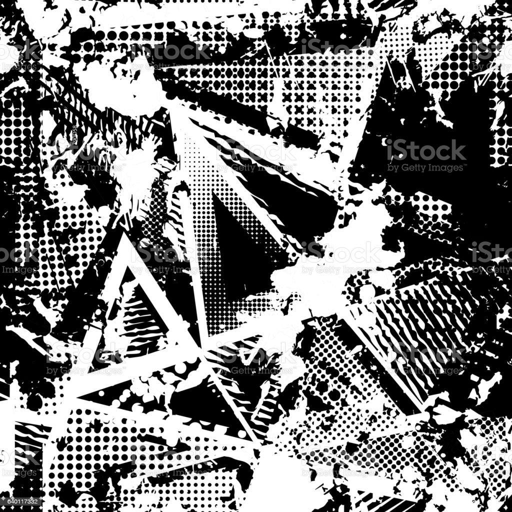 urban seamless grunge texture background. black white spray paint splash. - ilustração de arte em vetor