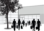 A vector silhouette illustration of a corwd of people leaving a shopping center with their purchases.  Two male friends and a young couple walk side-by-side away from the building entrance beside a tree in the parking lot.