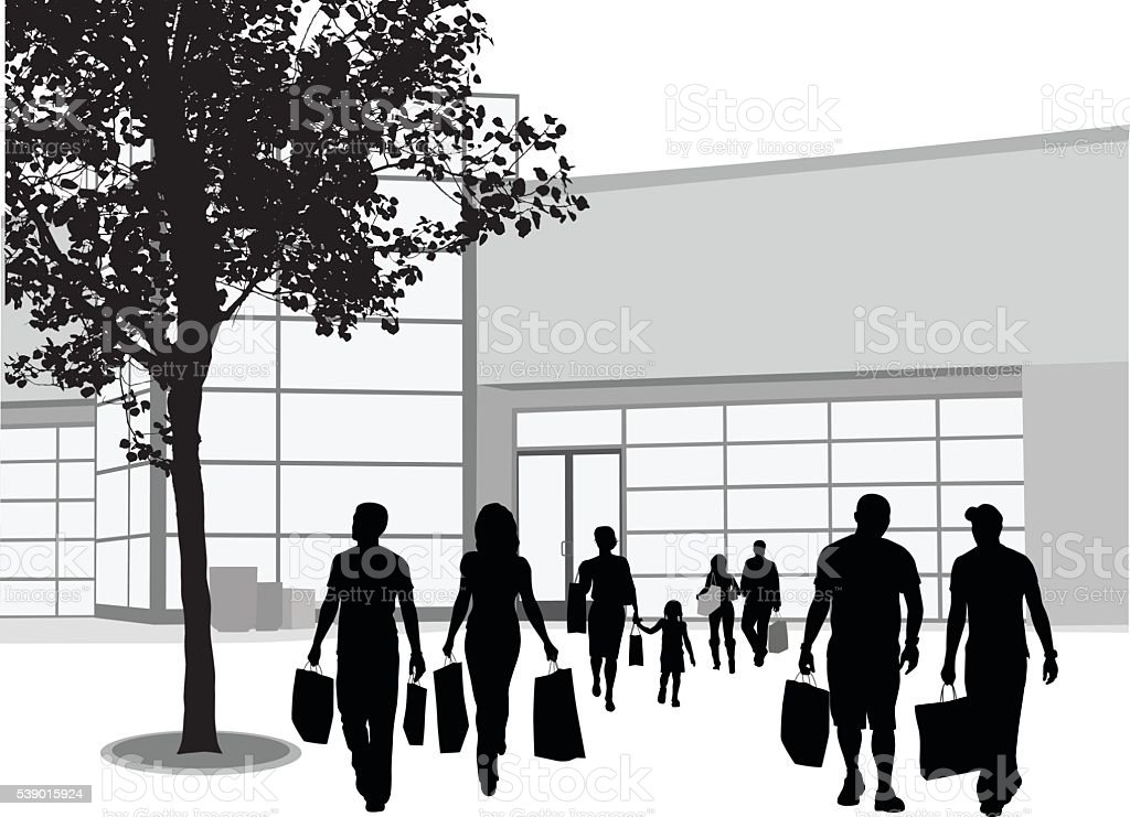 Urban Shopping Center vector art illustration