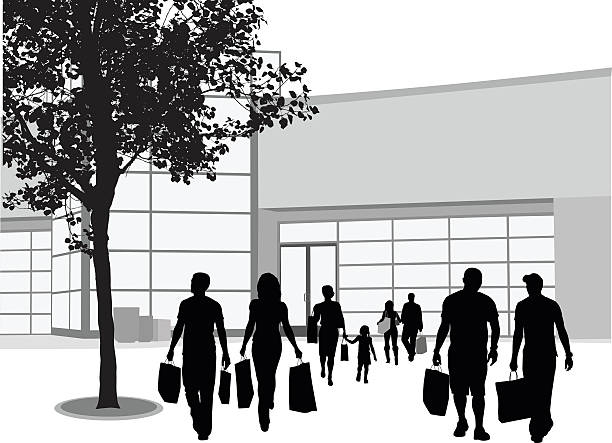 urban shopping center - architecture silhouettes stock illustrations