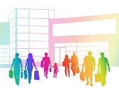Group of random shoppers leaving the mall with shopping bags in hand, coloured silhouettes vector illustration
