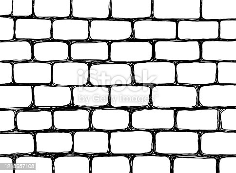 Urban sketch - wall texture. Hand drawn grunge background. Brick wall pattern. Black and white line art. Vector illustration.