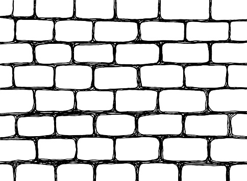 Urban sketch - wall texture. Hand drawn grunge background. Brick wall pattern. Black and white line art. Vector illustration