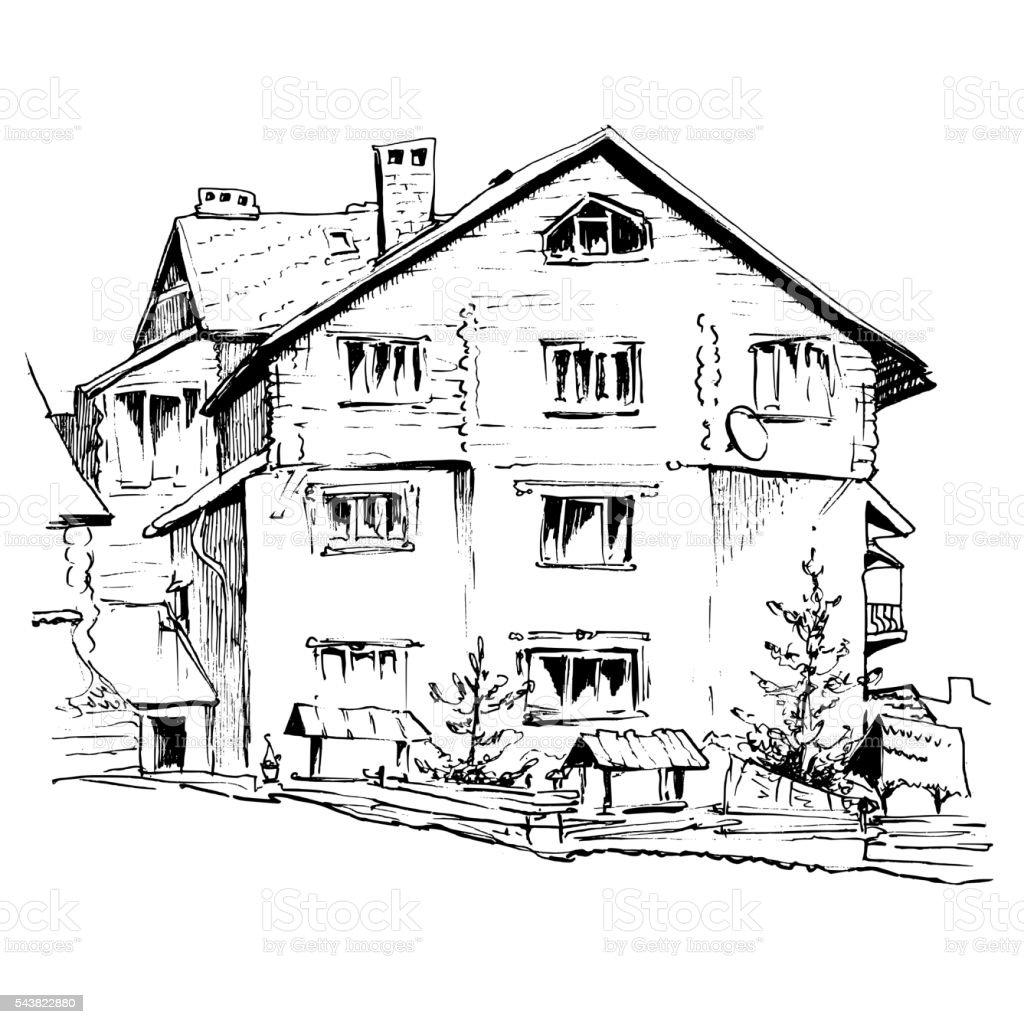 Einzellinie Fenster Alt Altertumlich Architektur Stadtisch Zeichnen Haus