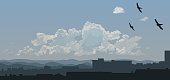Cloudscape over the city. EPS10 vector illustration, global colors, easy to modify.