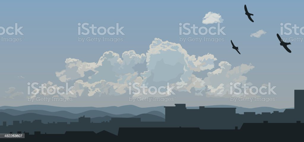 Urban skyline vector art illustration