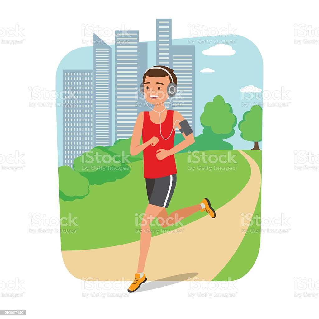 Urban sports. Young man jogging for fitness in the city vector art illustration