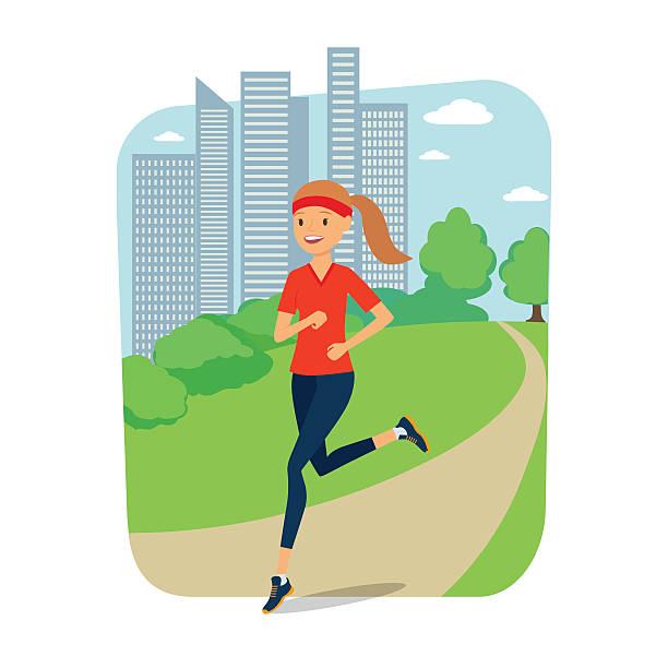 ilustrações de stock, clip art, desenhos animados e ícones de urban sports. young woman jogging for fitness in the city - young woman running city