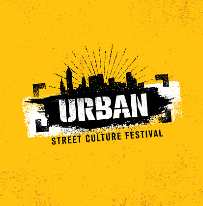 Urban Street Culture Festival Rough Illustration Concept On Grunge Wall Background With Paint Stroke