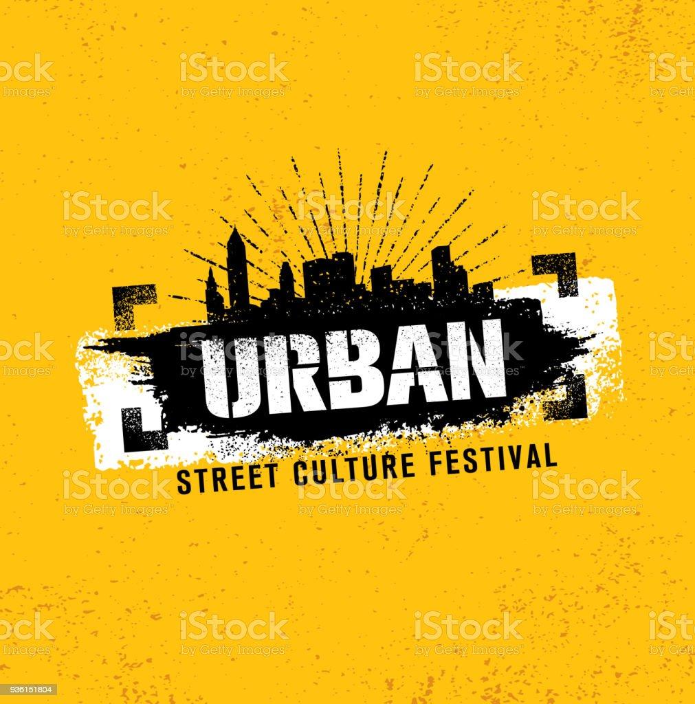 Concepto de ilustración áspero Festival cultura urbana de la calle sobre fondo de pared de Grunge con trazo de pintura - ilustración de arte vectorial