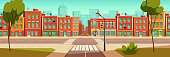 Urban street landscape with crossroad and traffic light, buildings with small shops, cafes and restaurants cartoon vector background, town poster with empty street space
