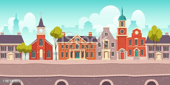 Urban street landscape 18th century with residential, government and church buildings, retro cartoon vector background. Cityscape with pavement, facades, vintage town poster