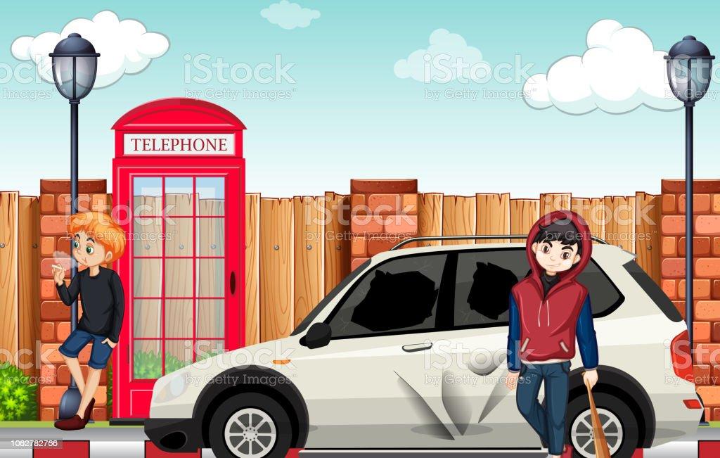 Urban street teenager in town vector art illustration