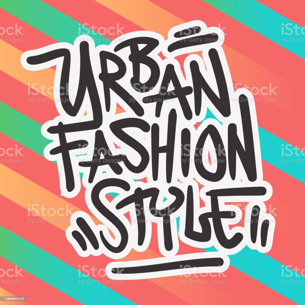 Urban style fashion street wear 90s casual clothing related design hand drawn brush lettering calligraphy graffiti tag style type logo design vector graphic