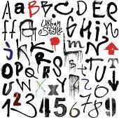 Urban style. Graffiti alphabet.