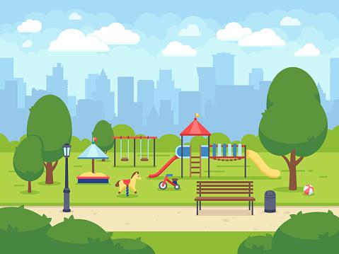 Urban summer public garden with kids playground. Cartoon vector city park with cityscape