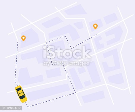 istock Urban taxi service vector illustration. Tracking system with start and finish point on city map, top view. 1212562017