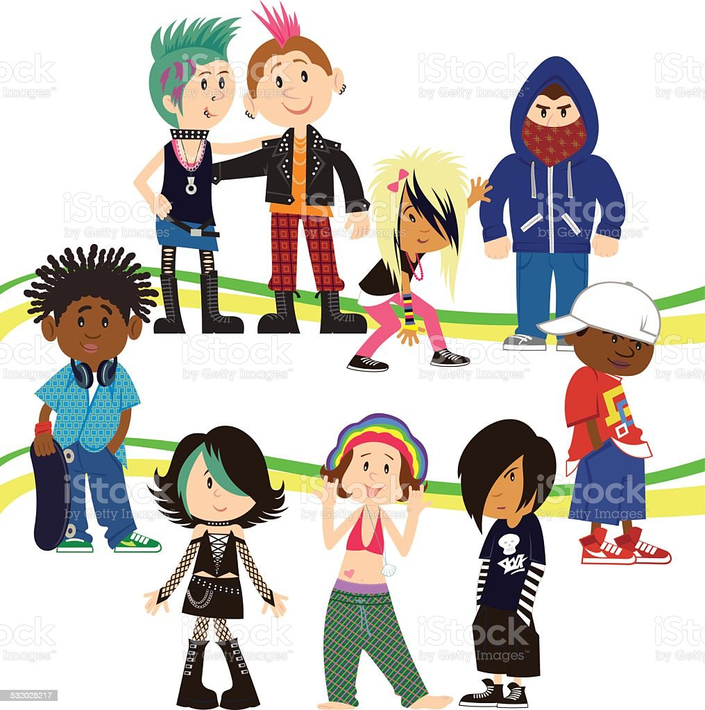 Urban Teenagers vector art illustration