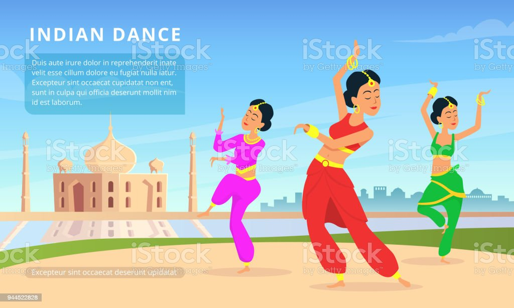 Urban traditional Indian landscape with beautiful dancers vector art illustration