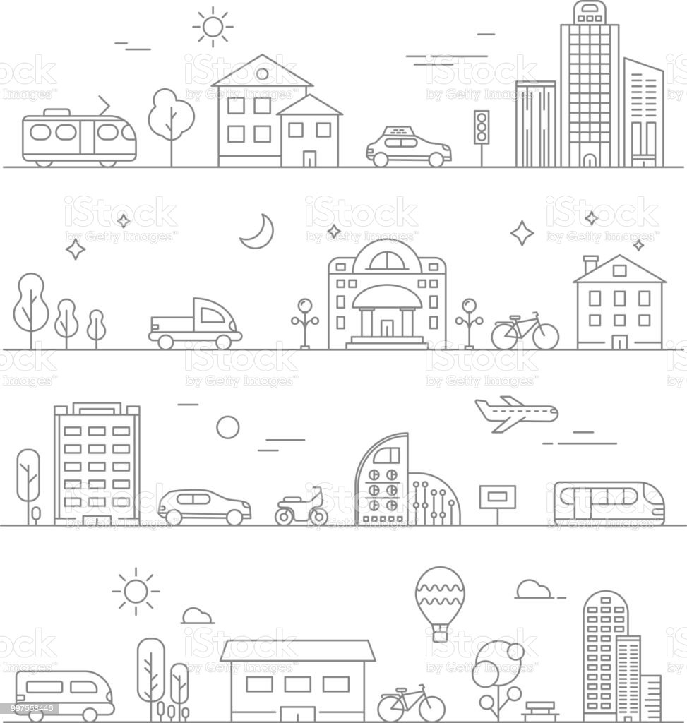 Urban traffic. Linear transportation symbols isolate royalty-free urban traffic linear transportation symbols isolate stock illustration - download image now
