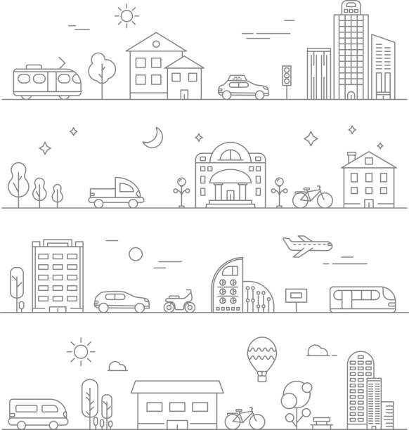 Urban traffic. Linear transportation symbols isolate Urban traffic. Linear transportation symbols isolate. City road and transport, cityscape outline, vector illustration town stock illustrations