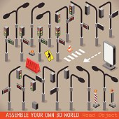 Urban Traffic Management 3D Vector Traffic Lights Sign Zebra Crossing Street Light Placard Signage Isometric Set