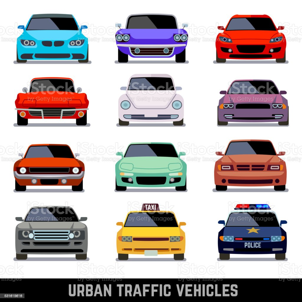 Urban traffic vehicles, car icons in flat style vector art illustration