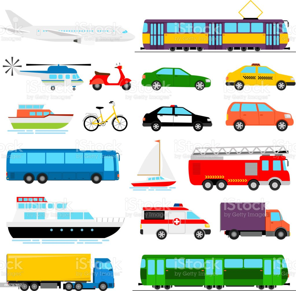 Urban transport colored vector illustration. City transportation vector art illustration