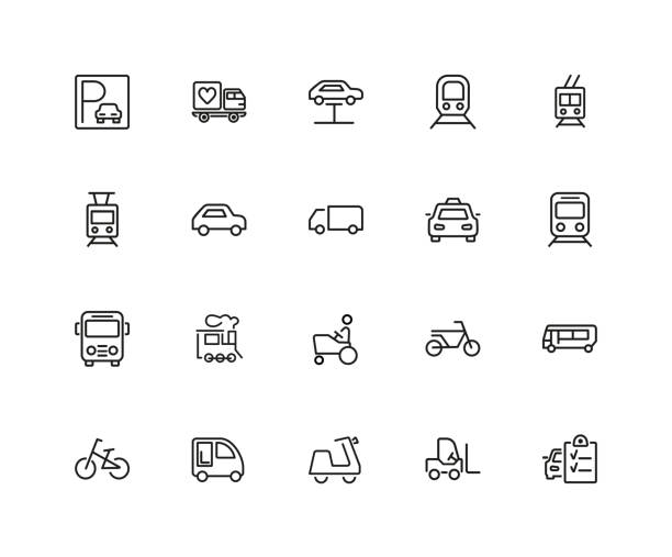 urban transport icon set - caravan stock illustrations