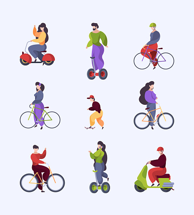 Urban transport. People riding motorbike in city outdoor vehicles electro scooter motorbike segway longboard garish vector stylized flat characters isolated